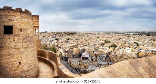 City view from the Jaisalmer fort in Rajasthan, India