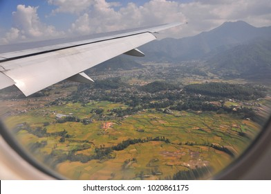 City View Katmandu Nepal on the plane before landing.