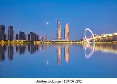City view of Nanjing eye walking bridge, Nanjing, Jiangsu, China