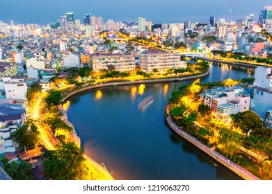 City view of Nhieu Loc canal at night - Ho Chi Minh city.