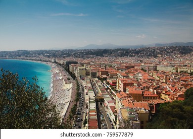 City view of Nice shore. Travel to the French Riviera.