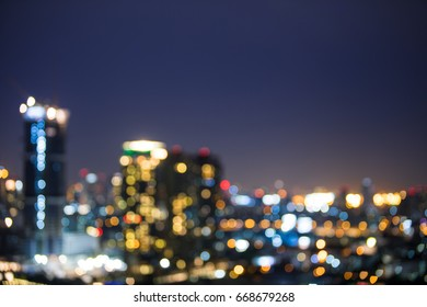 City view at night, Blur background, bokeh.
