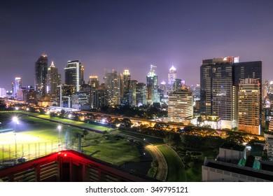 City View Night Time of  Ratchadamri Road Views over the Royal Bangkok Sports Club from Ratchadamri Road