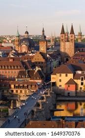 Würzburg city view old Main bridge Town Hall Franconia Bavaria Germany