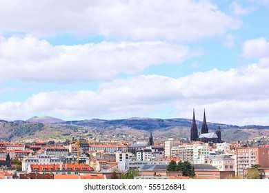 City view on Clermont-Ferrand, France, grained photo