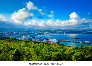 City View on George town, Isle of Man. City view from the top of the cliff. Isle of Man capital. Beautiful Isle of Man city. Wonderful day gorgeous scene. sightseeing Europe. Outdoor coastal view