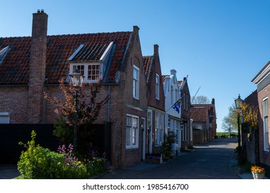 City view on old medieval houses in small historical town Veere in Netherlands, Walcheren, province of Zeeland