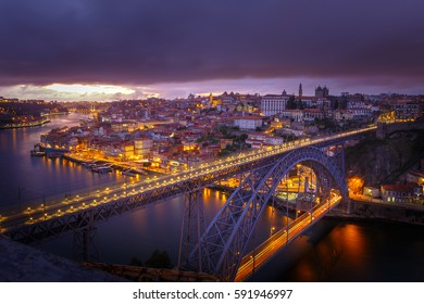 City view from Oporto by night