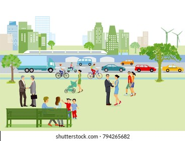 City view with pedestrians and traffic, illustration