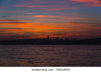 city view from sea sunset