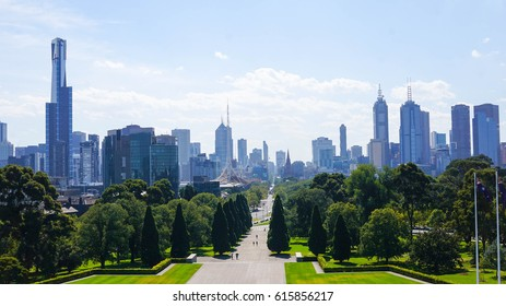 City view at shrine of remembrance in Melbourne