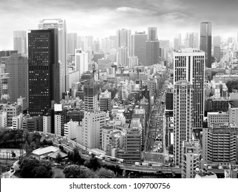 City view of skyscrapers