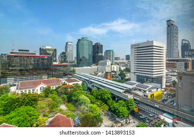 City View of Soi Tonson, business & financial area connect to BTS Chidlom skytrain station has office building, accommodation, hotels in business area on sukhumvit rd., Bangkok, Thailand,1 June ,2019