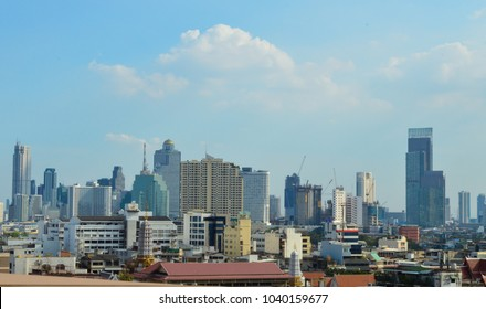City view with sunrise and blur background. From Bankkok, Thailand.