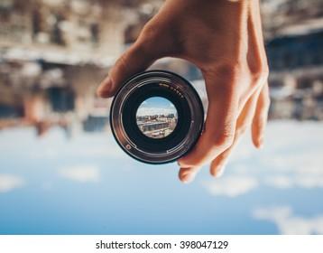 Vista da cidade através da lente