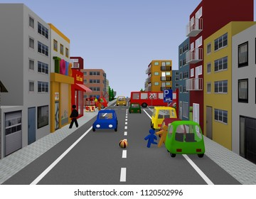 City view with traffic situation: Children playing. 3d rendering