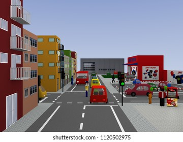 City view with traffic situation: Traffic regulation by a policeman. 3d rendering