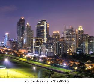 City View Twilight of  Ratchadamri Road Views over the Royal Bangkok Sports Club from Ratchadamri Road