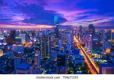 City views at sunset.