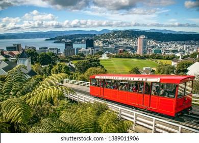 City views from Wellington cable car in South Island of New Zealand March 2019