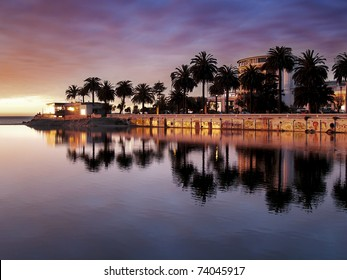 City of Vina del Mar (Chile) reflecting on the river Marga Marga at dusk