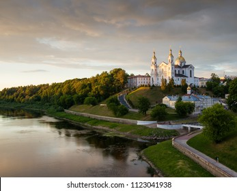 The city of Vitebsk and the Dvina river at sunset