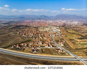 City of Vranje in south Serbia aerial skyline view