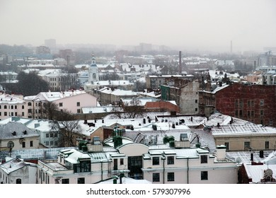 The city of Vyborg in the winter. View from the tower of the Vyborg castle