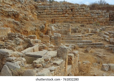 The city wall at Aptera, Crete, Greece, and ancient graves