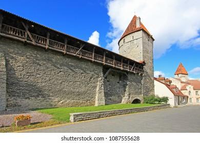 City wall with stone medieval tower, Tallinn, Estonia, Europe