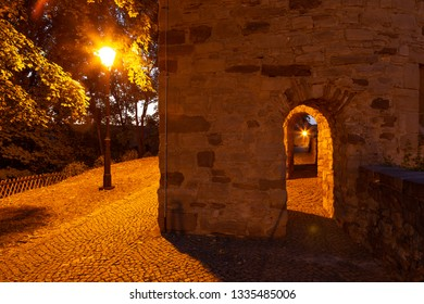 City wall with tower in the evening in Wernigerode