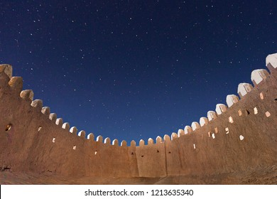 City walls of the ancient city of Khiva in starry night, Uzbekistan