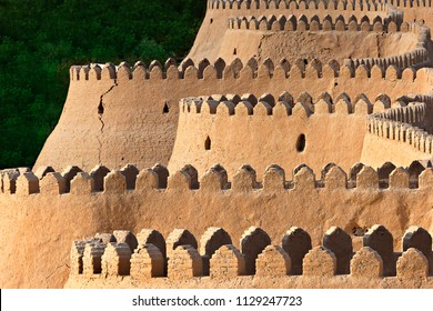 City walls of the ancient city of Khiva, at the sunset, Khiva, Uzbekistan