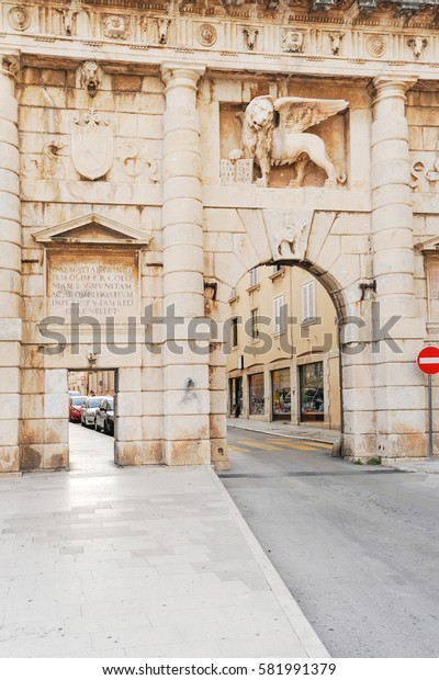 City walls and Landward Gate with Lion of Saint Mark in Zadar, Croatia