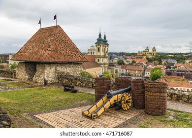 The city walls with lookout tower, sham cannon and views of the historic center of Eger. Hungary