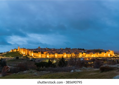 The City Walls at night, Avila city, Spain