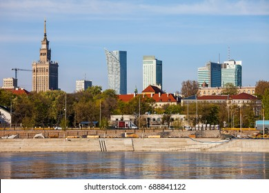 City of Warsaw downtown skyline from the Vistula river, Poland