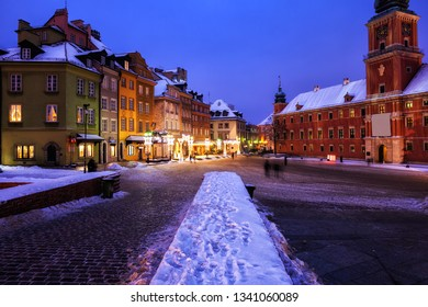 City of Warsaw in Poland, winter night in the Old Town
