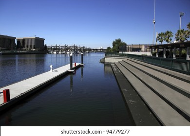 City waterfront and marina under clear Summer sky, Stockton, California