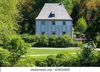 """City Weimar, Thuringia/Germany-The view on the cottage museum of Goethe, in the public park at the river """"Ilm"""" in Weimar."""