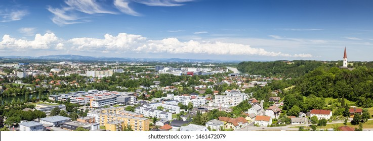 City of Wels and Thalham at upper austria with river traun