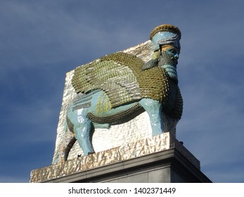 The City of Westminster, Central London, London, England, United Kingdom - 13 May 2019 : The Invisible enemy should not exist by Michael Rakowitz. The lamassu the Fourth Plinth Trafalgar Square