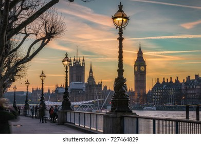 The City of Westminster in London, United Kingdom, at dusk in winter time