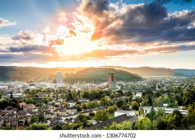 City of Winterthur from the famous viewpoint Goldenberg at sunset