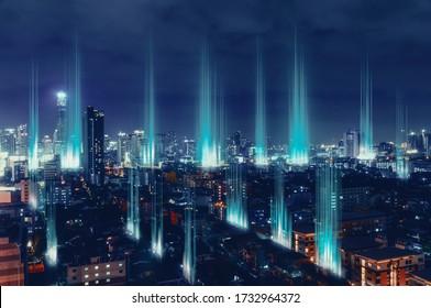 Stadt mit drahtlosem Netzwerkanbindung , abstraktes Kommunikationskonzept .