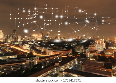 City with wireless network connection concept , abstract communication technology concept .