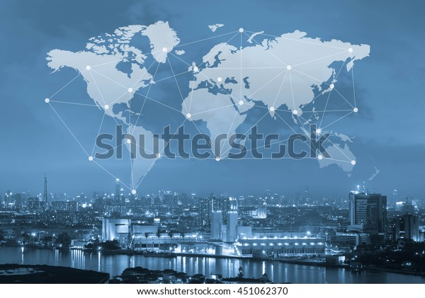City with world map and connecting line, globalization conceptual, industrial network communication concept