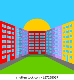 City Yard in the Morning. Abstract Multicolored City Landscape. EPS version is available as ID: 536827249.