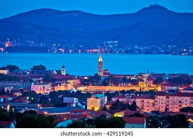 City of Zadar evening skyline and Ugljan island, Dalmatia, Croatia