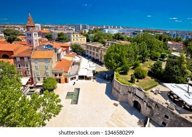 City of Zadar landmarks and cityscape aerial view, Dalmatia region of Croatia